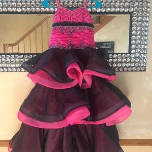 Tiffany Designs Dresses - Tiffany pageant gown girls 8 black & hot pink